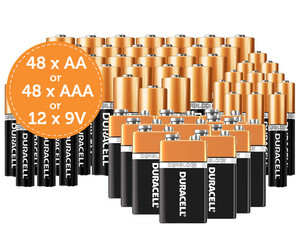 Duracell Batteries 48x AAA or AA of 12x 9V