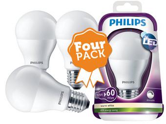 internet 39 s best online offer daily 4 pack philips led lampen e27 806 lm dimbaar. Black Bedroom Furniture Sets. Home Design Ideas